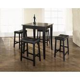 Found it at AllModern - Five Piece Pub Dining Set with Cabriole Leg Table and Saddle Seat Barstools in Black