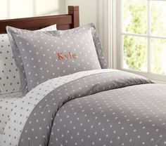 Organic Star Quilt Cover, Grey