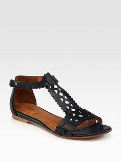 Chloé Leather Cutout T-Strap Sandals 2012