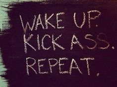 Wake up. Kick ass. Repeat.