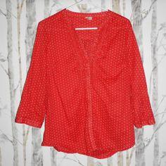 LC Lauren Conrad Red White Polka Dot Ruffle Neckline Blouse Size Large #LCLaurenConrad #Blouse