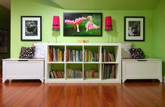 Playroom with you storage and book shelves!