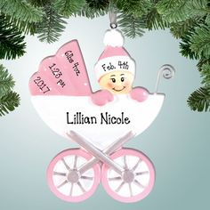 Look out below! Good thing this baby is holding on tight because her new parents have no idea how to operate this thing! If you have a new baby girl in your family that loves to take wild rides in her carriage, then this personalized Christmas ornament is a definite MUST this holiday season!