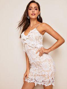 011ccca131 Frill Trim Guipure Lace Overlay Cami Dress   SHEIN