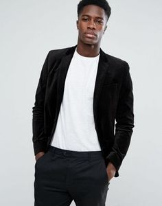 ASOS Unstructured Slim Blazer In Black Velvet