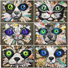 Art Room Britt: Oversized Cat and Dog Mixed-Media Collages - Best Art Projects 🎨 Group Art Projects, Animal Art Projects, Classroom Art Projects, School Art Projects, Art Classroom, Art Projects For Adults, Art Lessons For Kids, Art Lessons Elementary, Collage Kunst