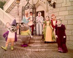 Vintage photo of Cinderella, Prince Charming, Fairy Godmother, Anastasia, Drizella, Lady Tremaine, Jaq and Gus.