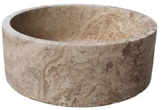 Vessel Sink - Noce Travertine Cylindrical Natural Stone. Shop the largest variety of unique natural stone sinks with free shipping in the US.