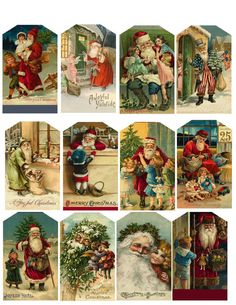 Cute for vintage Christmas tags. You can use old Christmas cards Vintage Christmas Images, Old Christmas, Victorian Christmas, Christmas Gift Tags, Christmas Paper, Vintage Holiday, Christmas Pictures, Christmas Holidays, Christmas Postcards