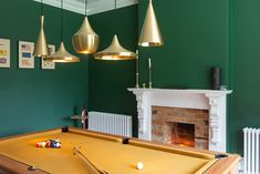 Fireplace for a cosy evening playing pool
