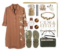 """""""Banbury Tencel dress"""" by amn-d ❤ liked on Polyvore featuring United by Blue, Havaianas, ZeroUV, Daniel Wellington, Pier 1 Imports, Crate and Barrel, Bobbi Brown Cosmetics, Envi:, Jennifer Behr and Red Camel"""