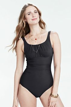 83260eb9b5959 Women s Slender Suit Scoopneck One Piece Swimsuit from Lands  End Vacation  Outfits
