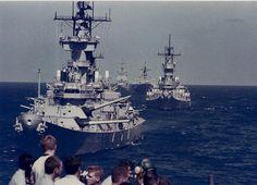 Battleships USS New Jersey, USS Missouri, and guided missile cruiser USS Long Beach.
