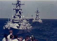 Battleships USS New Jersey, USS Missouri, and guided missile cruiser USS Long Beach.
