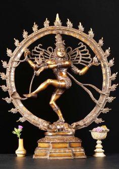 "Brass Nataraja Dancing Shiva Sculpture 25.5"""
