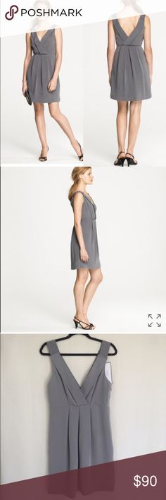 NWT J.CREW GREY AVELINE DRESS A party Dress in washed Crepe. Modern & elegant, luxurious drape & rich matte finish. This Dress has clean, graceful lines & subtle detailing, from the deep V at the neck and back to the tonal grosgrain accents at the shoulders. From weddings to after-work cocktails, this is a dress that will wear well for many seasons to come. Sleeveless. Shift silhouette. Side zip. A-line skirt. Fully lined. Falls above knee. 100% Silk. Dry Clean. Small flaw - see photo. brand…