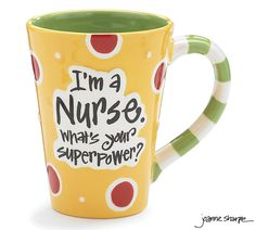 "#burtonandburton Dishwasher safe/FDA approved/Microwave safe.Hand painted ceramic decal message mug. Yellow background with message ""I'm a Nurse. What's your super power?"" Raised message and dots with green interior. Comes with a gift box. 4 1/2"" H X 3"" Opening. Holds 12 oz.1 set of 4."