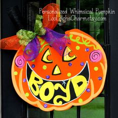 Pumpkin Door Hanger, Jack O Lantern Door Decoration, Halloween Home Decor…