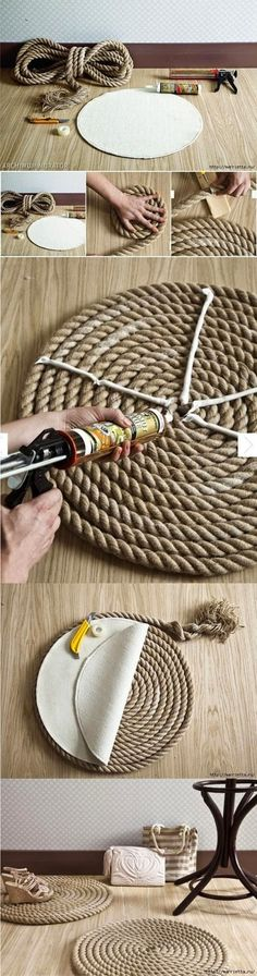 25 Creative DIY rope projects to craft at home DIY Rope rug. Use the same idea to create rope place mats for a nautical themed tablescape. Rope Crafts, Fun Crafts, Diy And Crafts, Rope Rug, Creation Deco, Diy Décoration, Easy Diy, Diy Projects To Try, Cool Ideas