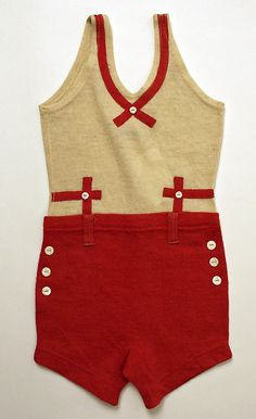"Red and ecru wool bathing suit, American, 1930's. Label: ""Sheboygan Wig Wam Brand, Hand Knit Hosiery Co., Sheboygan Wisc."""