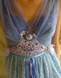 Fairy Pixie Wedding Dress Formal Whimsical Fantasy Eco Friendly Recycled from jadadreaming on Etsy. Formal Dresses For Weddings, Wedding Dresses, Dress Formal, Wedding Themes, Wedding Ideas, Nymph Costume, Sea Costume, Pixie, Paisley