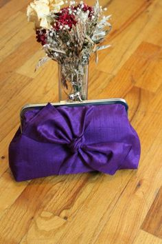 Purple Bridal Clutch - Wedding Clutch - Wedding Purse - Silk Clutch - Bridesmaids Clutch - Bridal Clutch with Bow Tie - Samatha Clutch Wedding Clutch, Bridal Clutch, Bridesmaid Clutches, Bridesmaids, Clutch Pattern, Coupon Holder, Luxury Handbags, Gift Wrapping, Bows