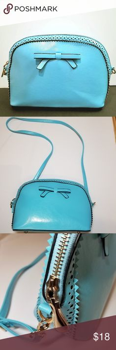 """Bright blue structured purse with bow The perfect purse for spring. *excellent condition  *adjustable and detachable cross-body strap *gold hardware *7""""H x 9""""L x 3.75""""W Bags Crossbody Bags"""