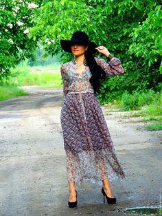 Купить БОХО макси платье из микса шелкового шифона (№145) - цветочный, платье бохо