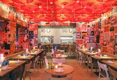 vibrant interior - 'Happyhappyjoyjoy' is an Asian restaurant that features a vibrant interior in Amsterterdam. The restaurant's design is inspired b. Architecture Restaurant, Architecture Design, Restaurant Interior Design, Interior Shop, Restaurant Amsterdam, Thai Restaurant, Vietnam Restaurant, Oriental Restaurant, Asian Restaurants