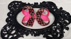 Hey, I found this really awesome Etsy listing at https://www.etsy.com/listing/199528127/black-pink-flower-rose-hair-bow-black