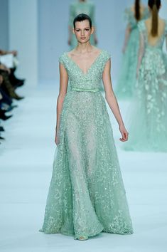 Mint green dress Elie Saab Spring Couture 2012