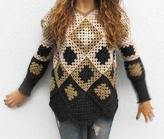 Crochet Granny Square Womens Winter Geometric Retro Sweater