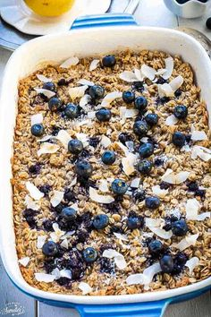 Blueberry Baked Oatmeal | A Healthy Breakfast | Gluten-Free Healthy Oatmeal Recipes, Baked Breakfast Recipes, Healthy Baking, Breakfast Ideas, Coconut Oatmeal, Blueberry Oatmeal, Baked Cinnamon Apples, Toasted Coconut Chips, Clean Eating Breakfast