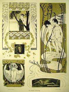 1898 Art Nouveau original color lithography by Austrian artist Koloman Moser (1868-1918)