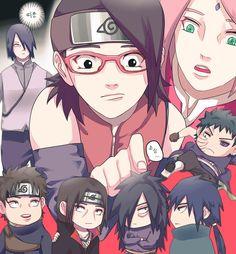 Sasuke, Shisui, Sakura, Sarada, Obito, Madara, Itachi e Izuna