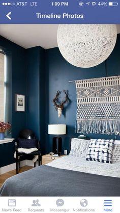 Dark blue bedrooms bedroom walls decorations home design bank us beachy bedroom colors blue bedroom walls blue bedroom ideas for adults, blue bedrooms for adults. Blue Bedroom Decor, Cozy Bedroom, Bedroom Colors, Bedroom Ideas, Bedroom Designs, Master Bedroom, Navy Bedroom Walls, Indigo Bedroom, Bedroom Vintage