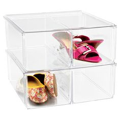 Shoe Bins - Premium Stacking Shoe Bin from The Container Store Shoe Storage Solutions, Storage Bins, Storage Ideas, Wardrobe Solutions, Creative Storage, Diy Storage, Shoe Organizer, Purse Organization, Organizing Shoes