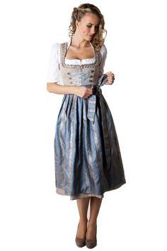 Ludwig und Therese Damen Trachten Dirndl Natascha midi taupe 11235 (Beige): Amazon.de: Bekleidung