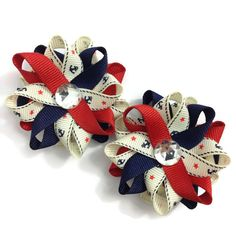 New to CupcakesClipShop on Etsy: Red & Blue Anchor Nautical Small Hair Bow Set - Handmade Hair Bow Set - Red Navy Blue Hair Bow Set - Boating Bows - Nautical Bows - Sailing (5.00 USD)