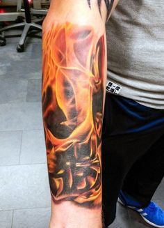 Wrist Flame Tattoo For Men With 3d Skull