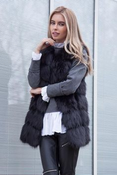 Styled in London Website, Styled in London Clothes, Celebrity Clothing, Black Faux Fur Gilet, Styled in London Dress. Fur Jacket, Fur Vest, Winter Gilet