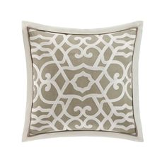 The Fretwork Square decorative pillow features chainstitching on a soft cotton sateen.