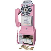 Crosley Classic Pay Phone - Pink Telephone Crosley replica, you will enjoy the functional coin slots complete with jingle as your money is deposited into the coin bank in the base of the unit.