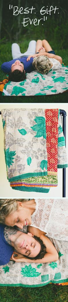 LOVE this as a wedding gift idea! One-of-a-kind kantha throw quilts made by trafficking survivors out of vintage saris. I've felt one and it is soooo soft & I love the meaningful story of the blanket. It would make a totally unique wedding gift!