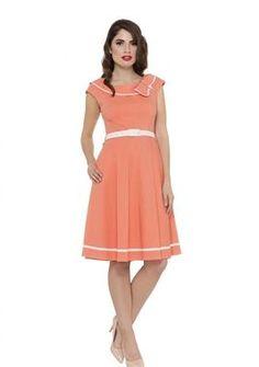 Vixen Bow Flare Dress - Coral