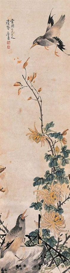 New oriental bird wallpaper products Ideas Korean Painting, Japanese Painting, Chinese Painting, Chinese Art, Chinese Brush, Japanese Prints, Japanese Art, Chrysanthemum Drawing, Stone Age Art