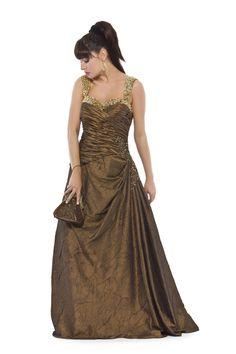 Vestido longo em tafetá amassadinho com corpo drapeado e alças bordadas. Cod. 101205