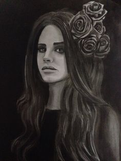 Lana del Rey drawing done in my sketchbook using pencil, charcoal, and ink by Cari griffin