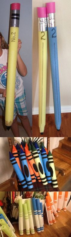 Back to School Hacks How to make GIGANTIC pencils crayons and markers with pool noodles! These are perfect for back to school pictures classroom decorations parties and so much more. The post Back to School Hacks appeared first on School Diy. Back To School Party, Back To School Hacks, School Parties, First Day Of School, Sunday School, School Tips, Back To School Crafts For Kids, Smart School, School School