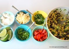 easy taco bar fillings -- just add slow cooker carnitas, recipe linked here
